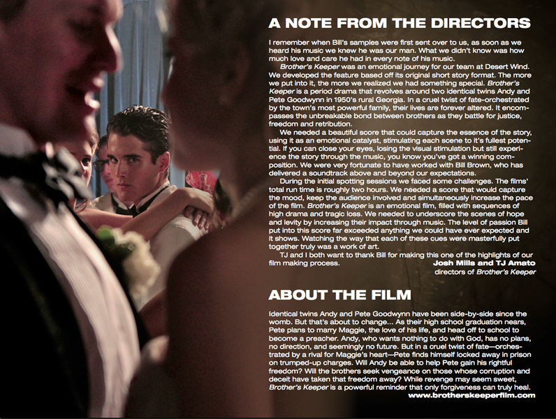 Brothers Keeper - note from the directors