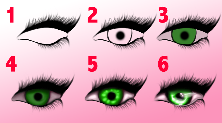 1. I start with top and bottom lashes, in this case for an eye wearing heavy mascara and eyeliner.  2. I follow up the lashes with the pupil and lines for the iris. For this example, the iris is relatively small. In many cases, when I want they eyes to be a focal point, I will exaggerate the size of the iris so a lot of color can be seen at a distance.  3. After my lines are done, I start with base colors. I never use pure white for the sclera (the white outer layer of the eyeball) because it makes them too bright for a realistic look. They are going to look white after shadows and highlights are added.  4. I start with shadows because, for me, they are easier to fix and reshape. I sample with they eye dropper from the base colors and choose a darker, more saturated tone from that same area.  5. I typically go with bright, highly saturated tones for the highlights and keep the opacity anywhere from 5 to 10% while I add highlights until I get the desired effect.  6. To finish, I add reflections spots with white at a very low opacity (3-6%)