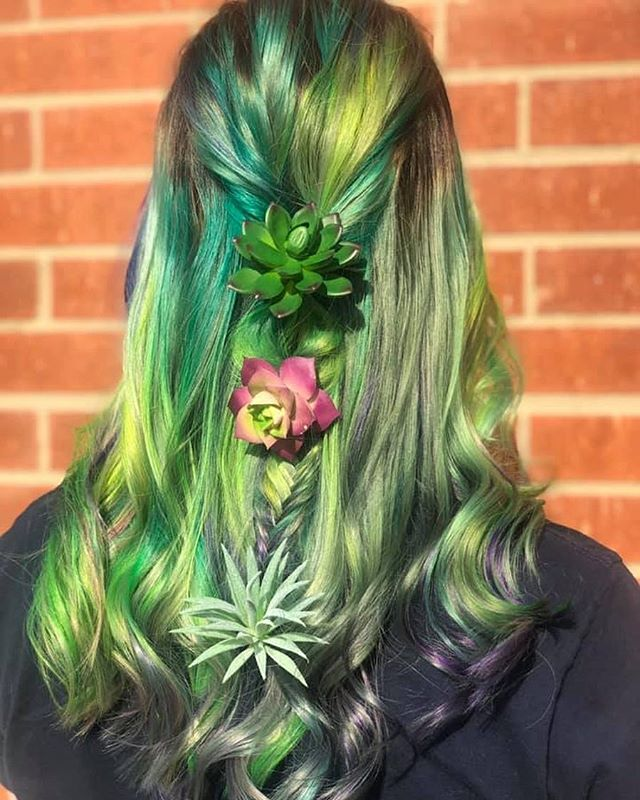 succulent hair by Allie 🌿🌵 . . . . . . . . . . #artistikedge #behindthechair #hairtutorial #balayage #hairbesties #allaboutdahair #licensedtocreate #americansalon #colourmelt  #hairgoals #dallashairstylist #dallashairsalon #succulenthair #pravanavivids #olaplex #rainbowhair #greenhair #fckinghair #hairofinsta #colorfulhair