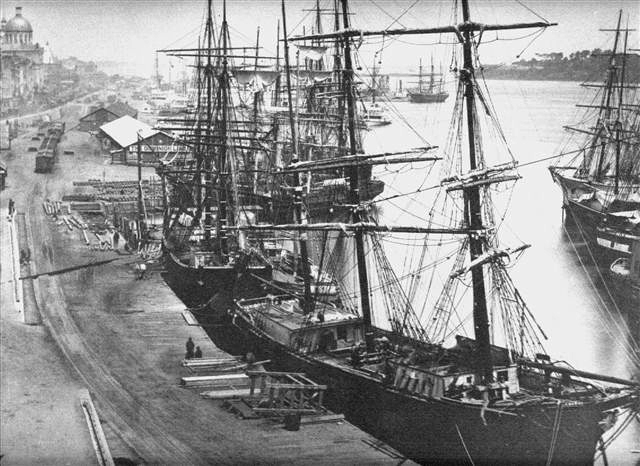 The bustling Port of Montreal during the 1800s.