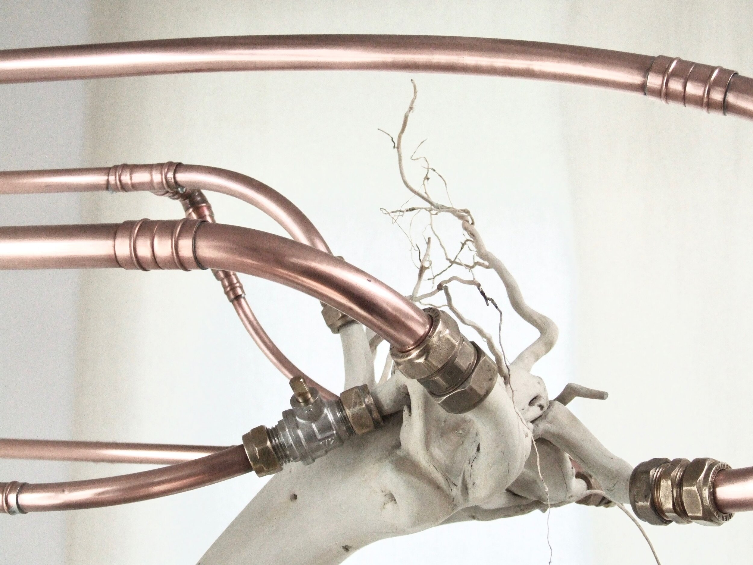 Post , Katherine Sankey, Detail Photograph of 225 x 75 x 127cm Sculpture; copper, wood, rubber steel
