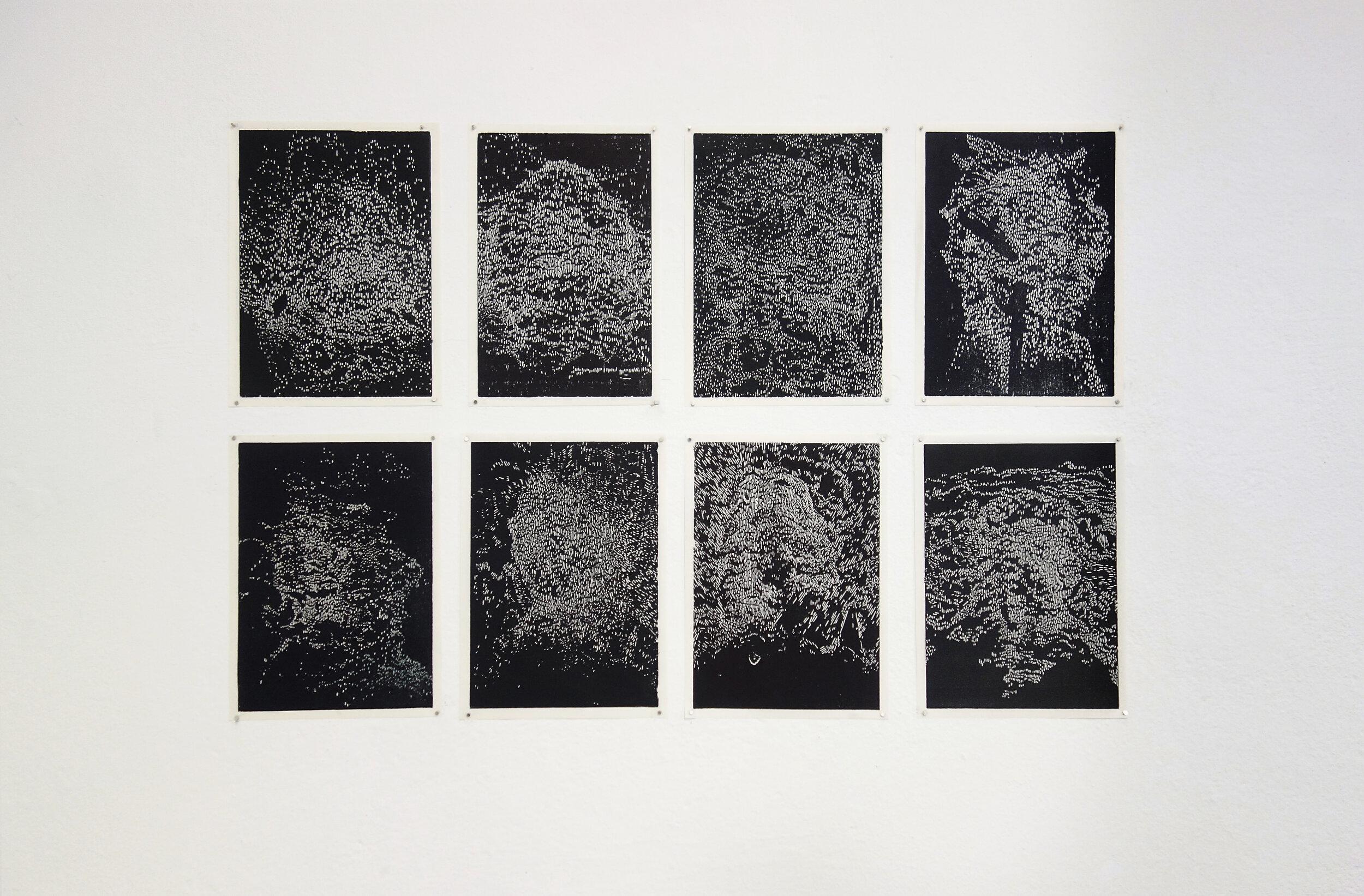 Spirits,  2018, Linda Pense, 8 x woodcut prints, 15 x 20cm