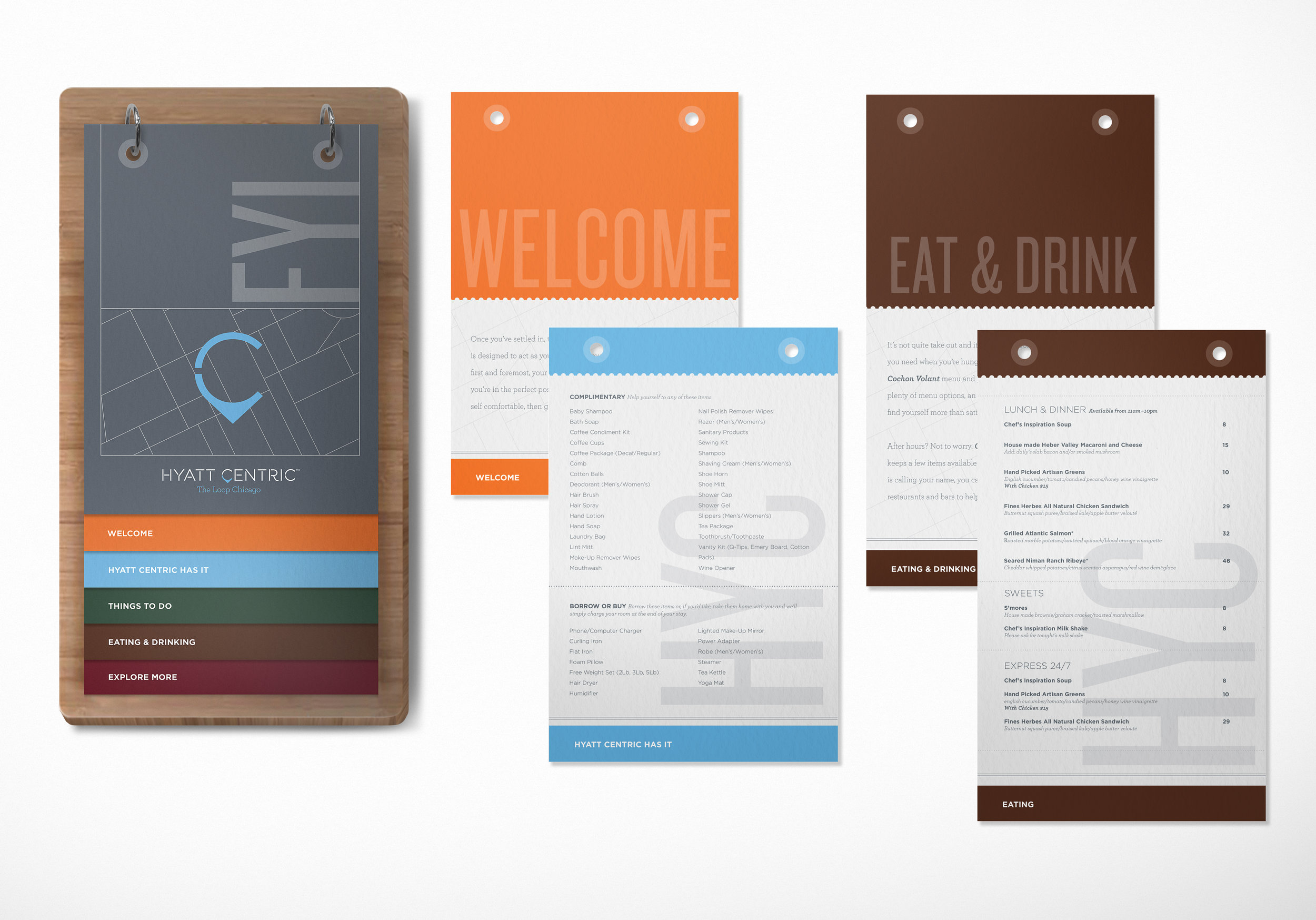 Hotel welcome guide design for Hyatt Centric