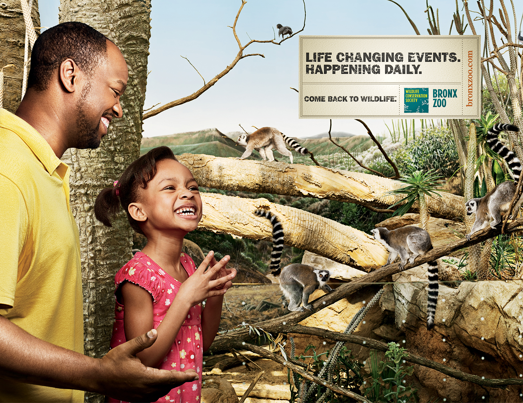 """Bronx Zoo ad with father and daughter at zoo - """"Life changing events happening daily"""""""