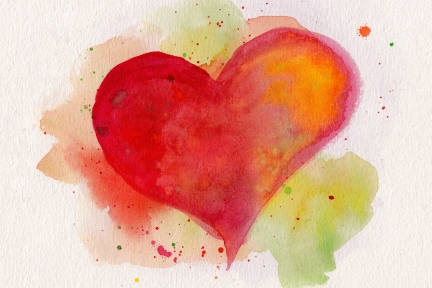 Watercolor red heart