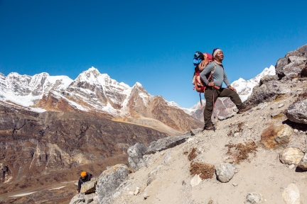 Team of Mountain Climbers led by Nepalese Sherpa Guide