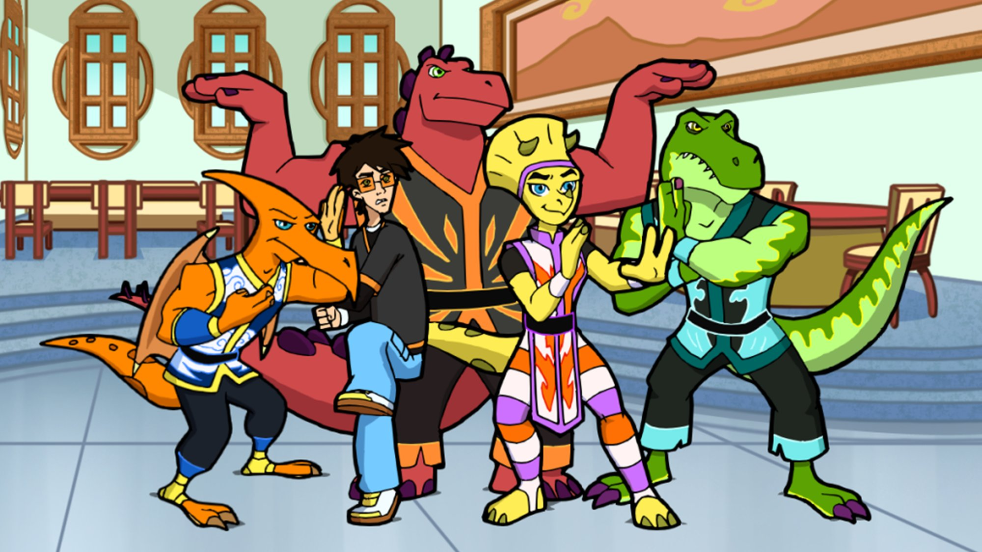 KUNG FU DINO POSSE - (Animated Series, Released 2010)With the evil Skor thawed out in modern-day Megalopolis, it is up to the heroic, recently defrosted Kung Fu Dino Posse to stop him and his bumbling brother from destroying the city.  Brent Hirose voices Jet, one of our four prehistoric kung-fu dino heroes. You can watch now on CraveTV.