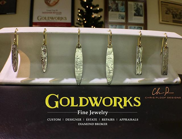 Damascus steel earrings with 18k yellow gold tops, new from @chris_ploof_designs  #damascussteel #damascussteeljewelry #earrings #holidayshopping #hmb #halfmoonbay #sfbayarea #forgedinfire #giftideas