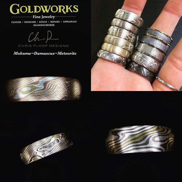 New arrivals! We now have Mokume, Damascus steel, and meteorite rings available from @chris_ploof_designs!!!