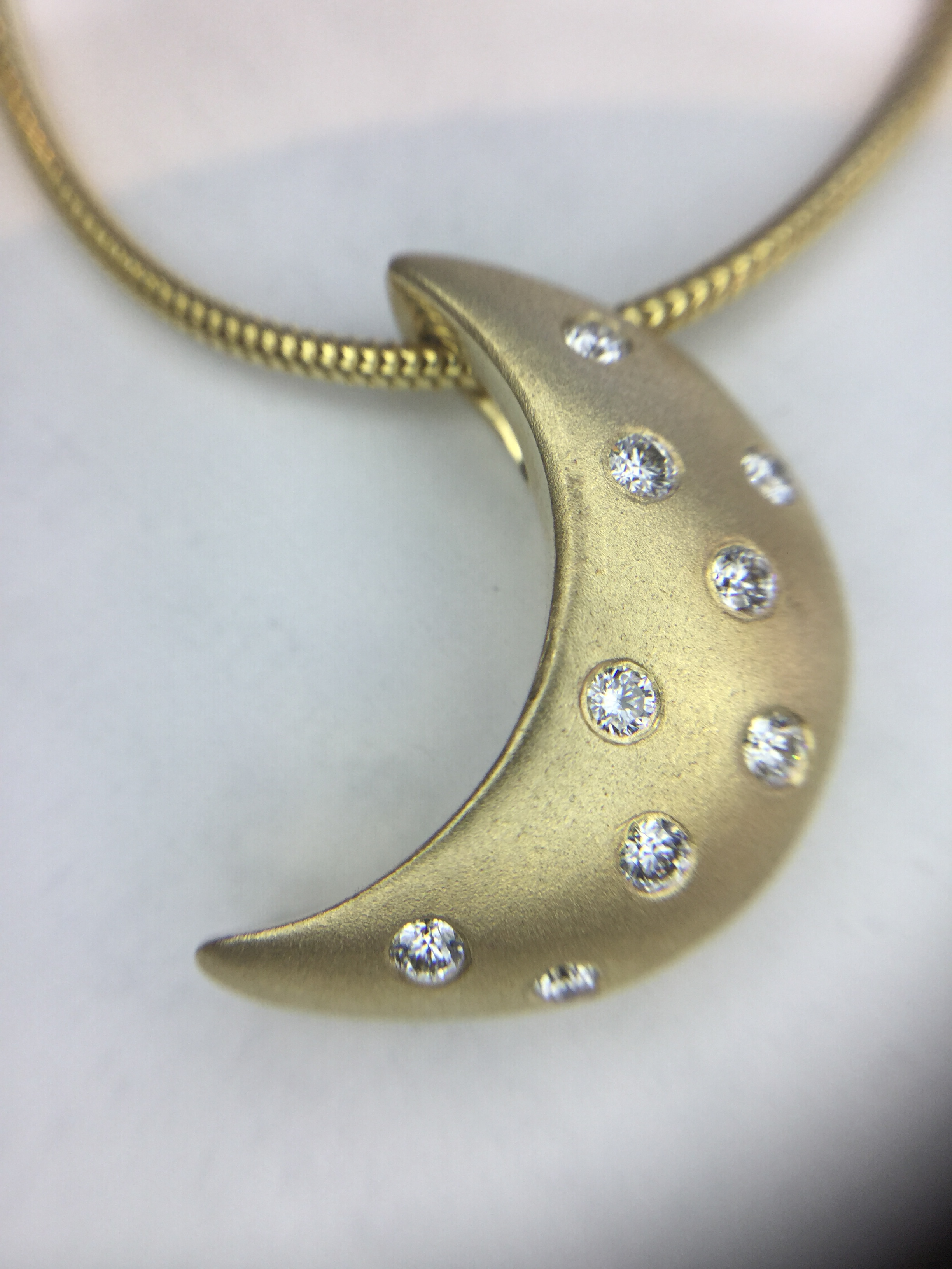 14k Yellow Gold Moonlight Pendant with Diamonds, Large- Matte Finish