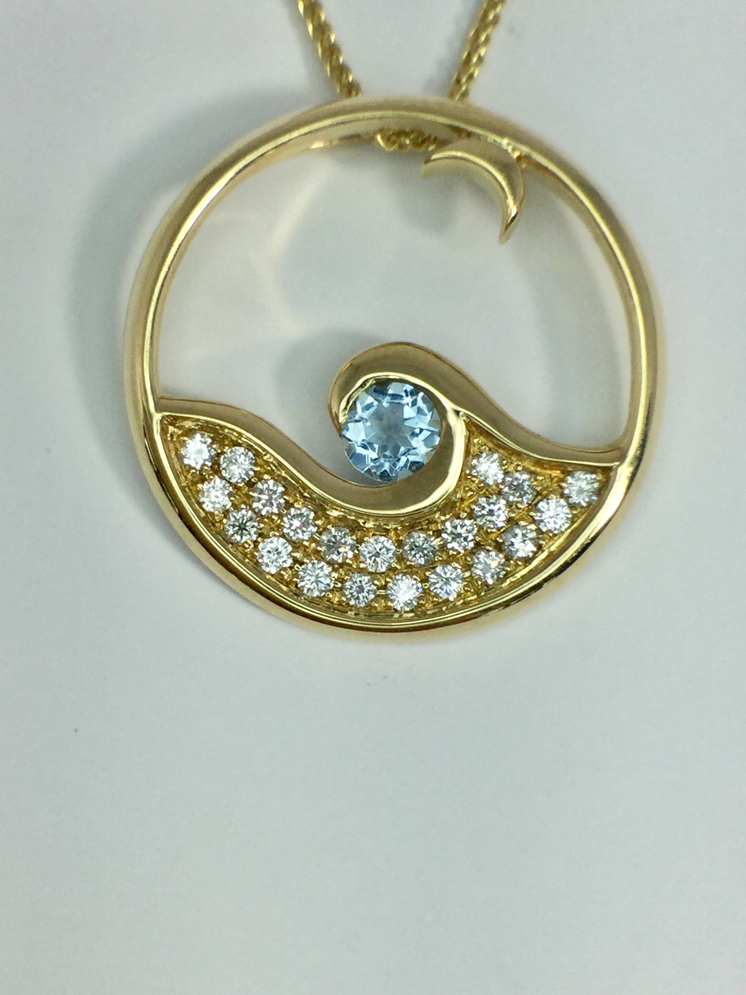 14k Yellow Gold Moonglow Necklace with Aquamarine and Diamonds