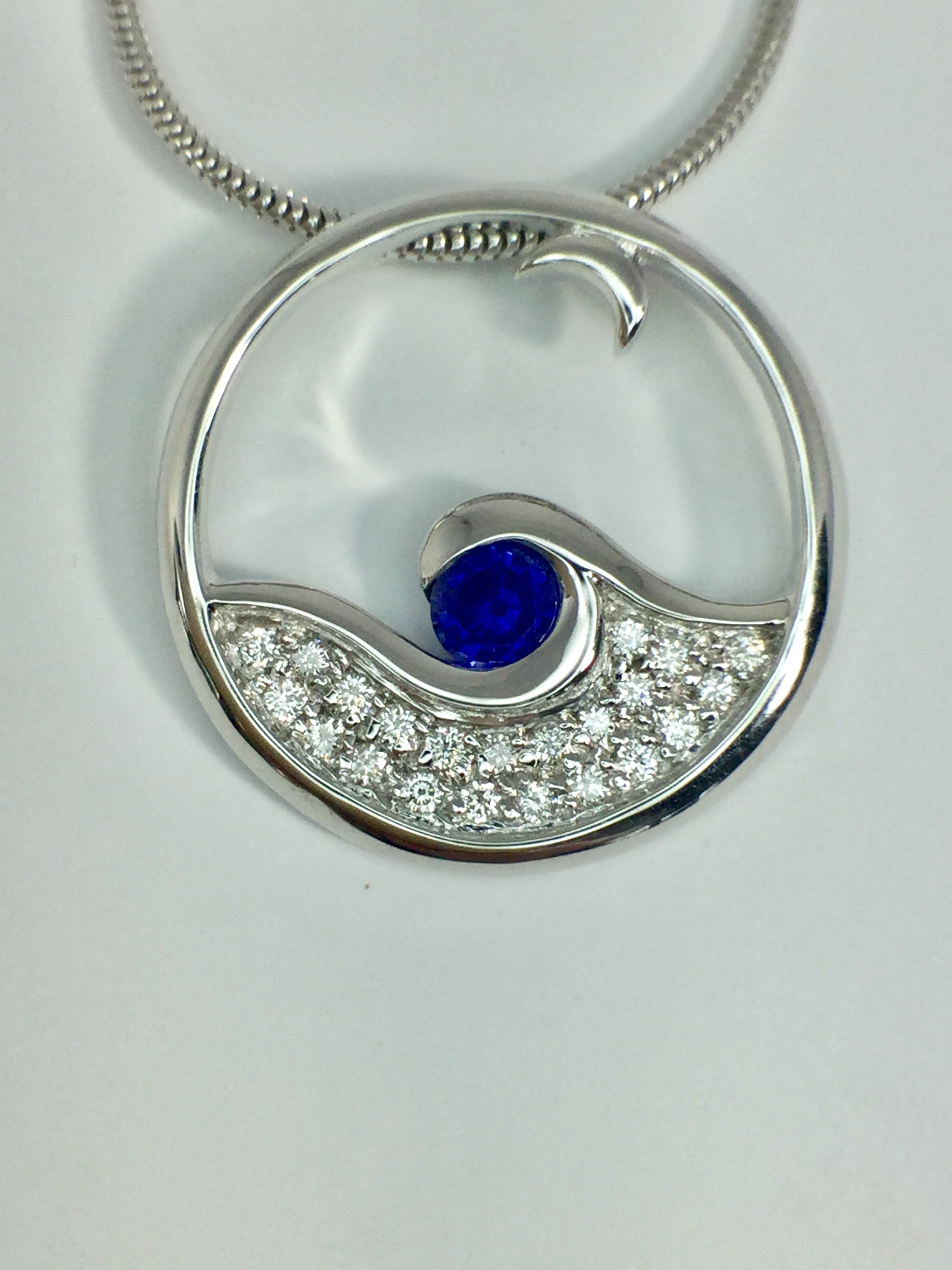 14k White Gold Moonglow Pendant With Diamond and Sapphire