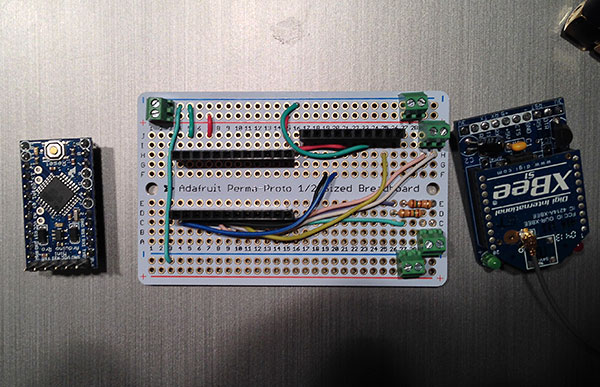 The Arduino and XBee were socketed to the protoboard so they are easily removable (this turned out to be very handy later). Screw terminals were used for all the wires that needed to connect to the board.