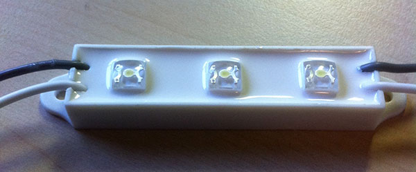 Dust and water tight LED modules. The three LEDs pull 25mA. Two modules were used per number.