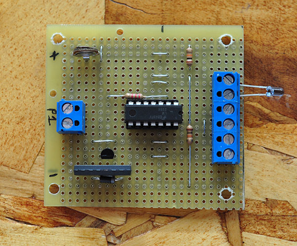 The finished photo detector circuit.