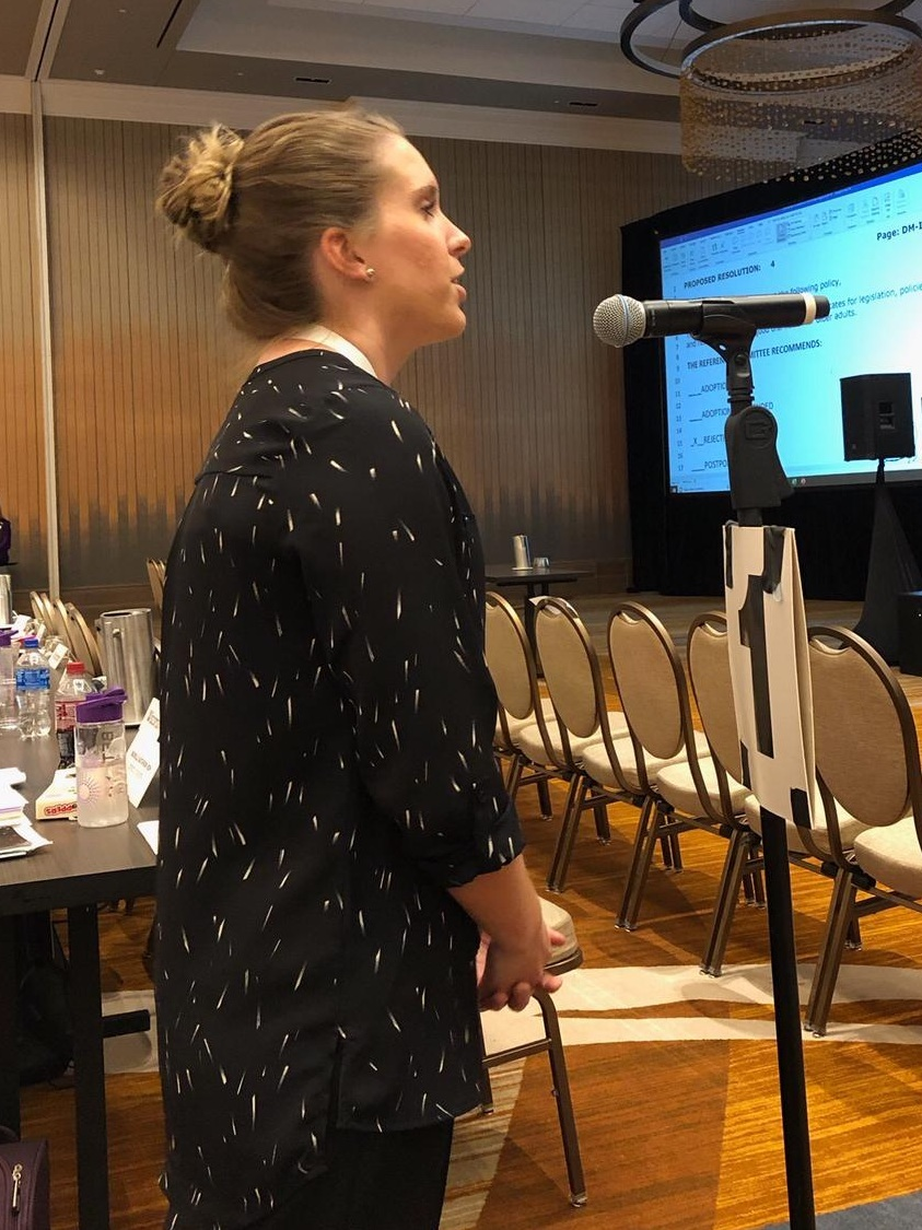 Student delegate Natalie Hayden speaking at the House of Delegates