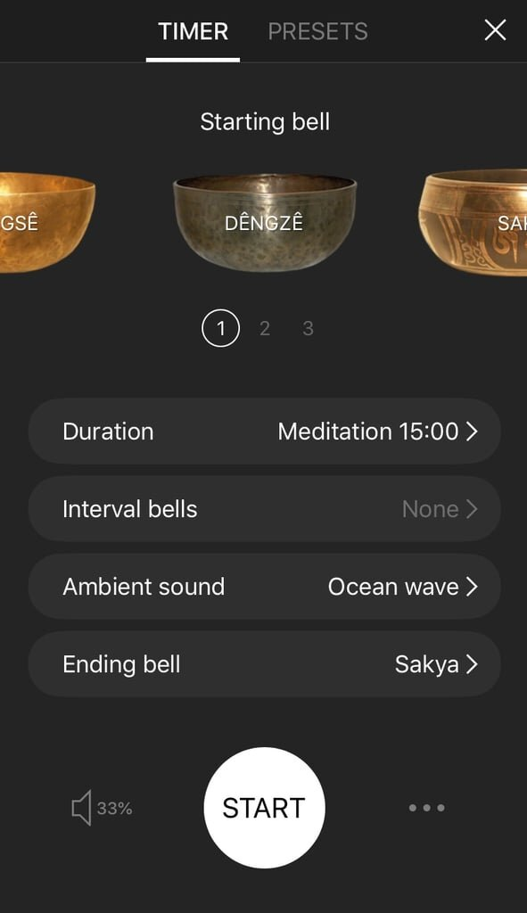 - Free meditation app for various levels. Includes large library of guided meditation at different lengths from prominent teachers, as well as a timer with virtual bells to support your personal meditation.
