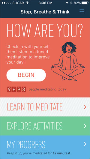- This app includes a daily check-in to rate how you feel and then tailors recommended meditation practices to match your mood. Free or paid subscription version.