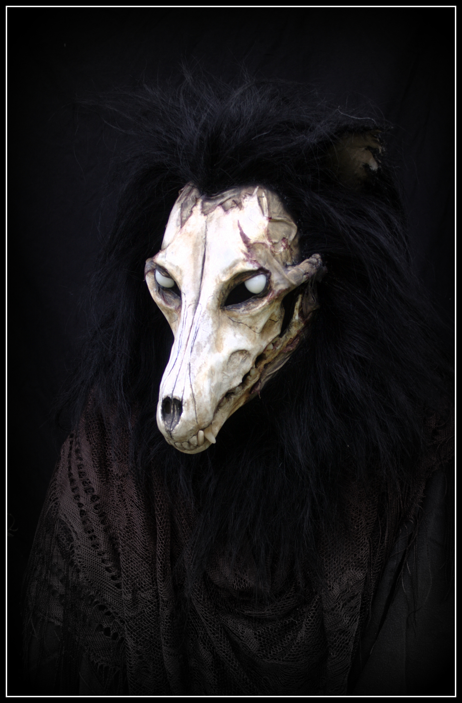 Wolf skull head (deluxe) - $2300 - Features Include:moving jaw (w/ extended jawset)skull faceLED eyesNFT fur cowlcustom flesh detail sculpting
