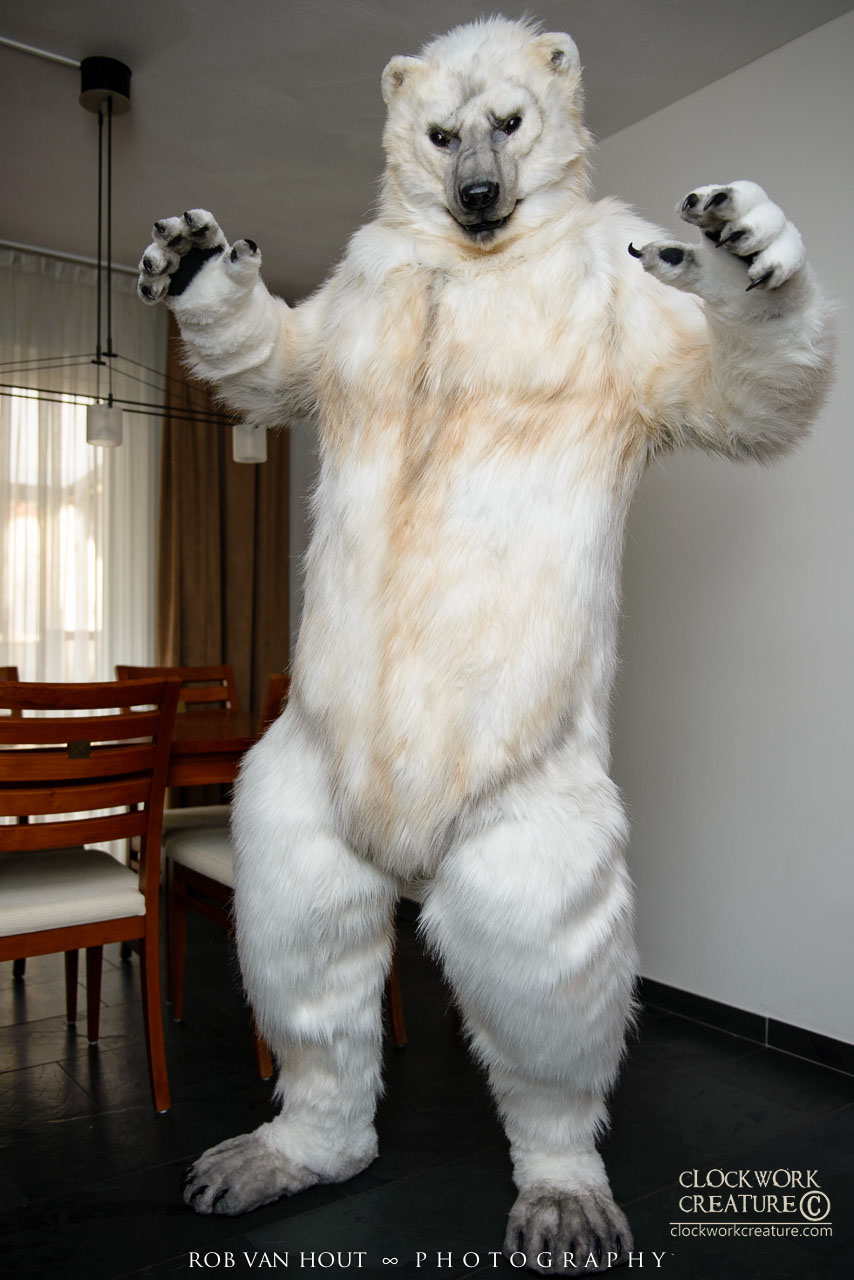 Polar Bear Fullsuit (head, bodysuit, gloves, feet, and tail) - $7000 - Features Include:moving jawfull-body padding + body podcustom airbrushing