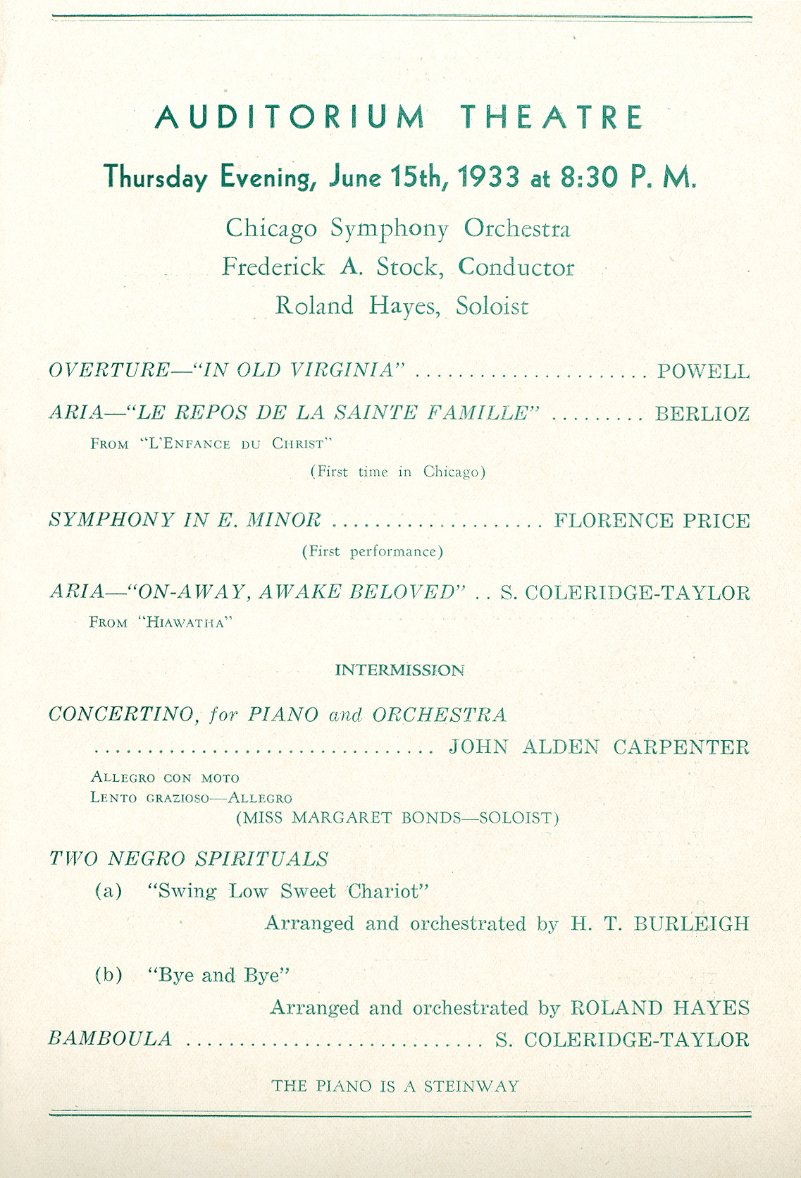 Chicago Symphony Orchestra,  15 June 1933