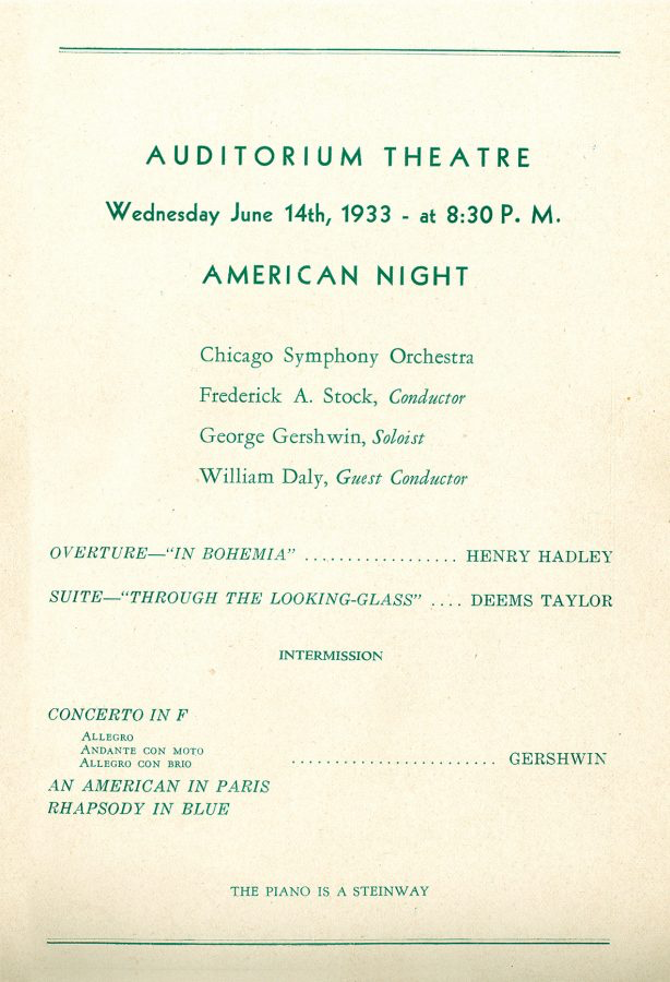 Chicago Symphony Orchestra,    14 June 1933