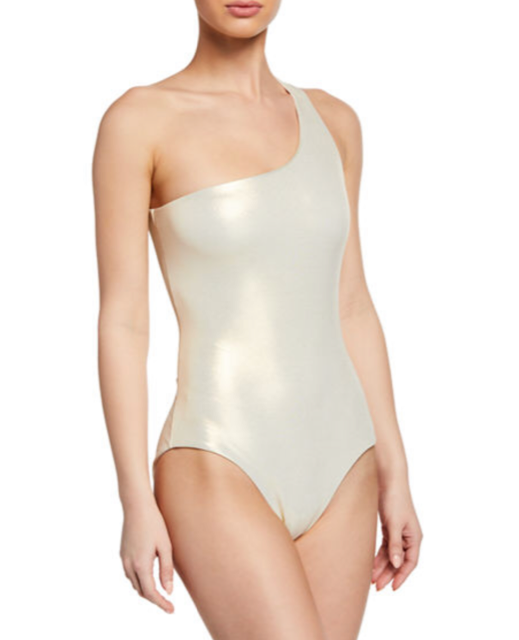 Metallic One-Shoulder One-Piece Swimsuit