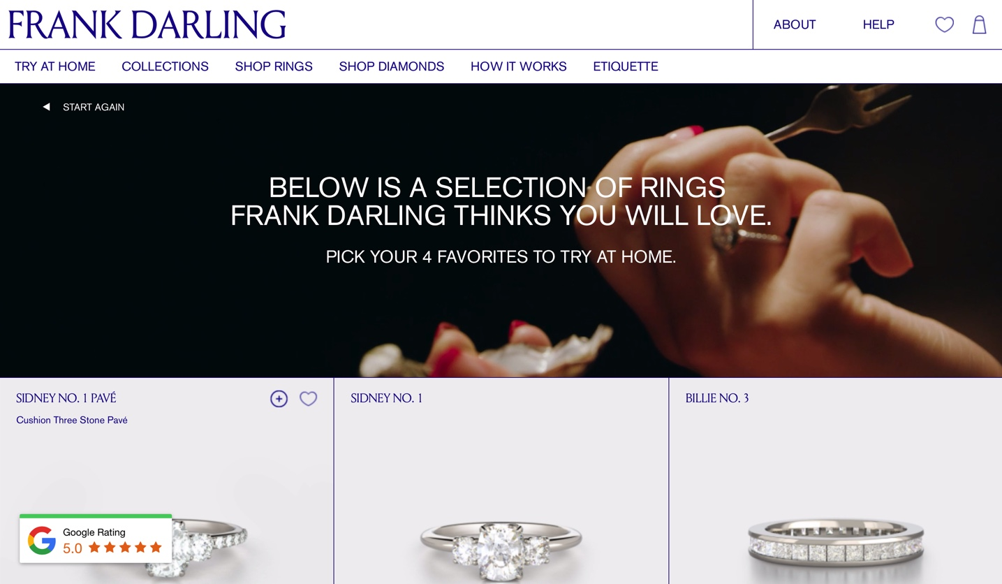 You can search for your eco-friendly dream engagement ring by collection, based on your personality, or by features like the type of metal, cut of diamond and type of setting.