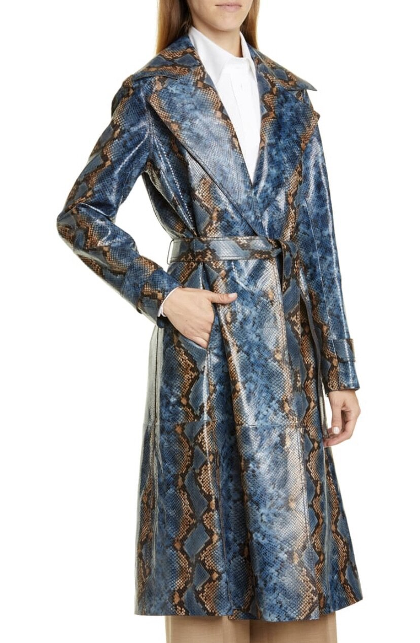 Michael Snake Embossed Leather Trench Coat, Lafayette 148, $4998