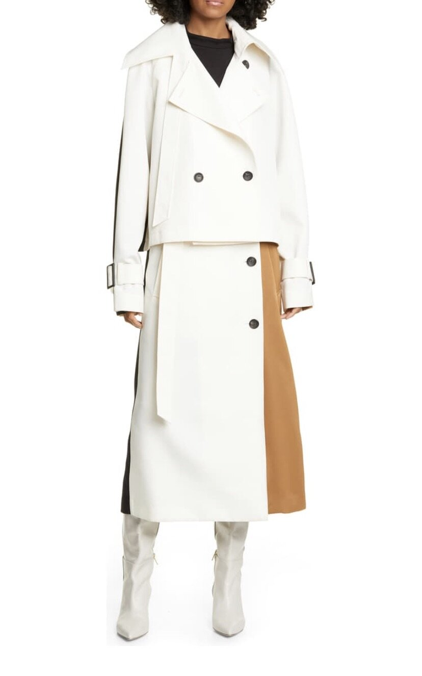 Colorblock Double-Breasted Trench Coat, Tibi, $1095