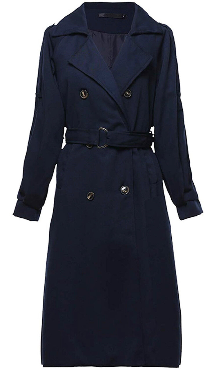 Yeokou Women's Causal Double Breasted Spring Fall Long Trench Coat with Belt, $45