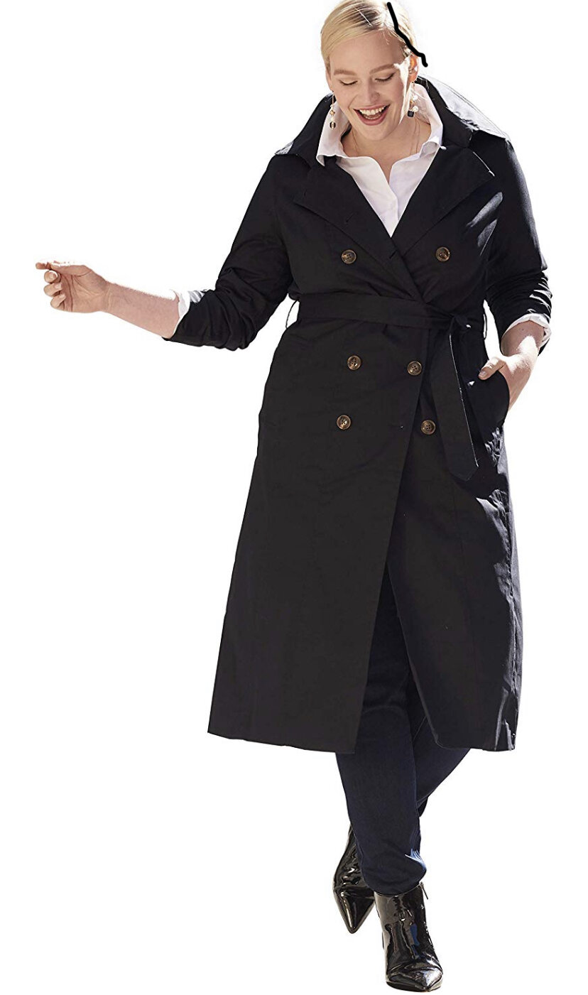 Jessica London Women's Plus Size Double Breasted Long Trench Coat, $66
