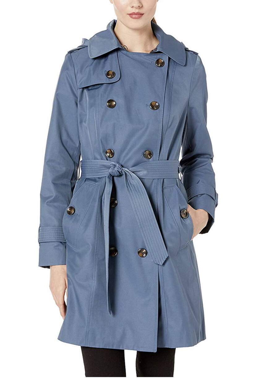 """London Fog Women's 36"""" Length Double-Breasted Trench Coat with Belt, $104"""