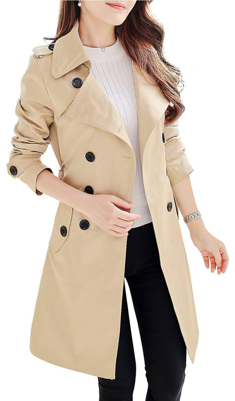 NANJUN Women's Double Breasted Trench Coat Chelsea Tailoring, $49