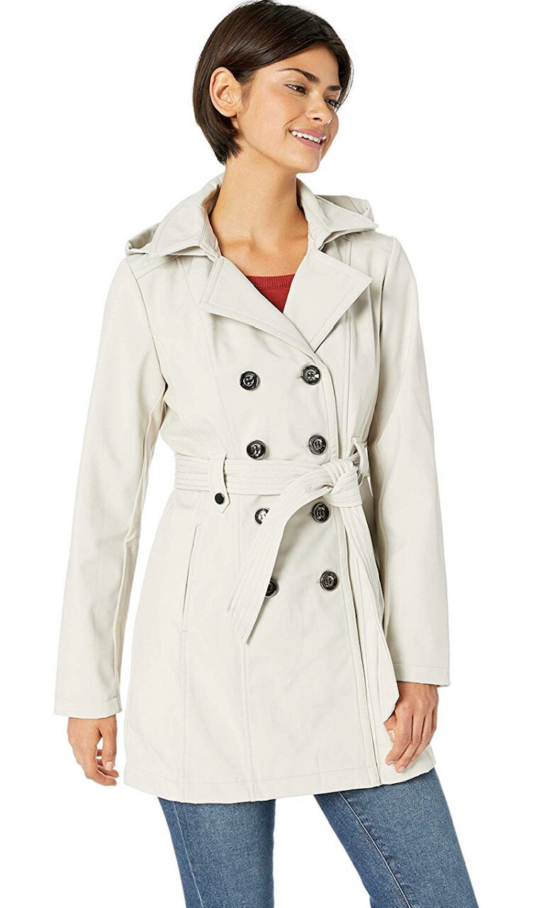 Sebby Collection Women's Soft Shell Trench Coat Water Resistant with a Detchable Hood, $60