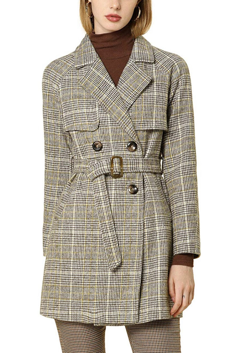 Allegra K Women's Double Breasted Raglan Sleeve Belted Plaid Trench Coat, $69