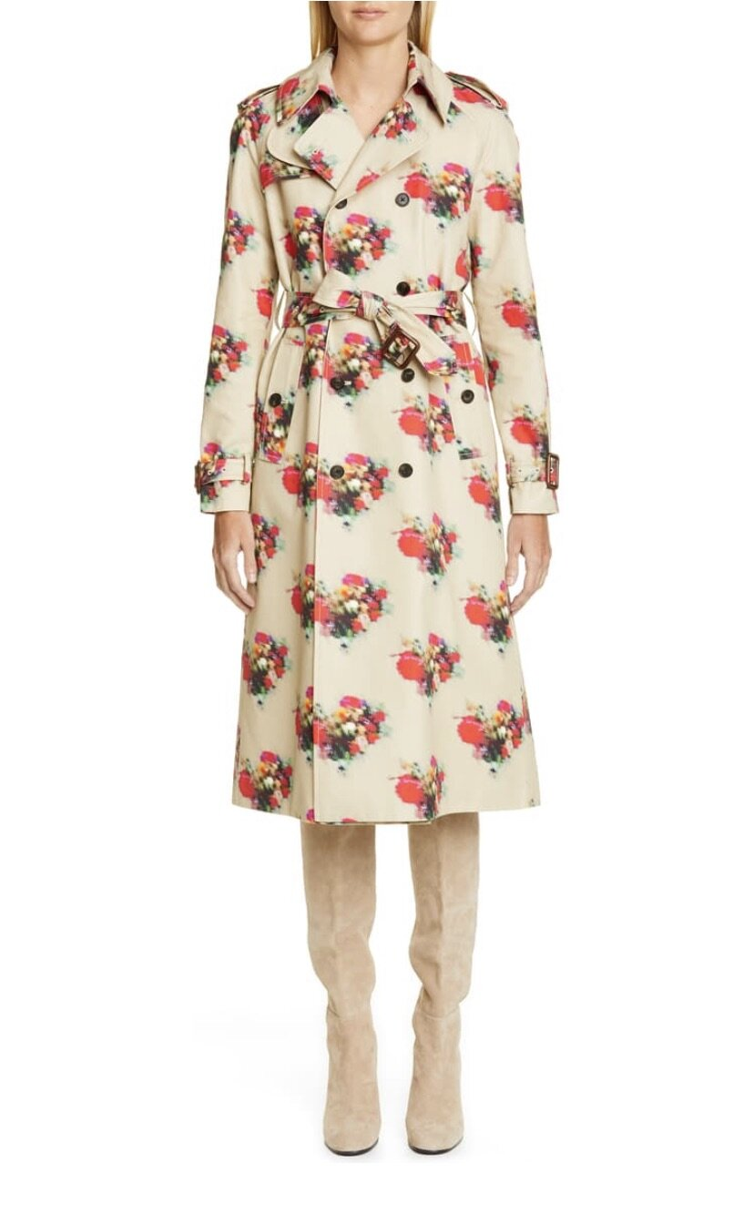 Floral Print Cotton Twill Trench Coat, Adam Lippes, $1690