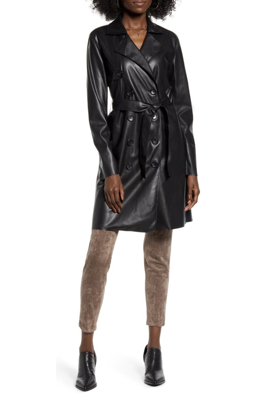 Faux Leather Trench Coat, BlankNYC, $148