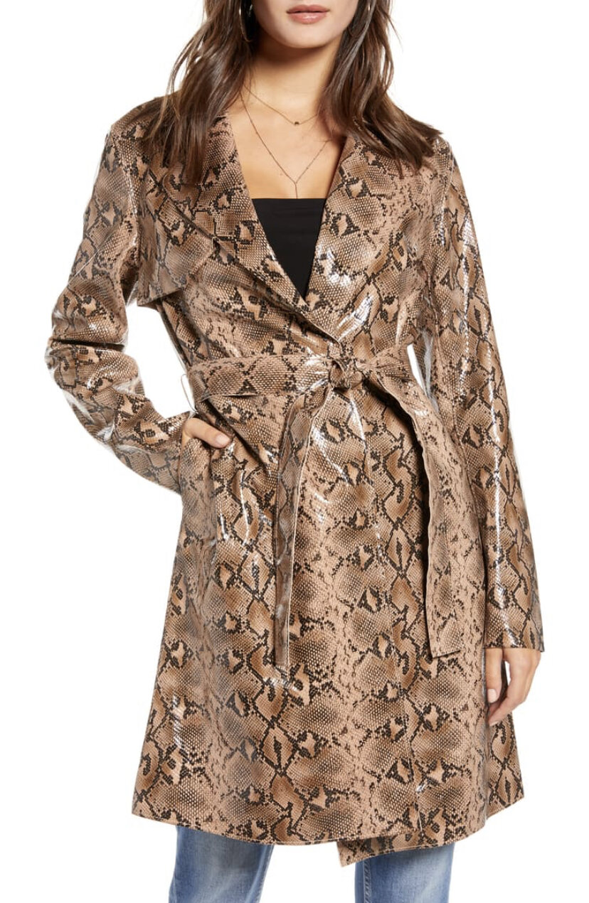 Snakeskin Faux Leather Trench Coat, BlankNYC, $148