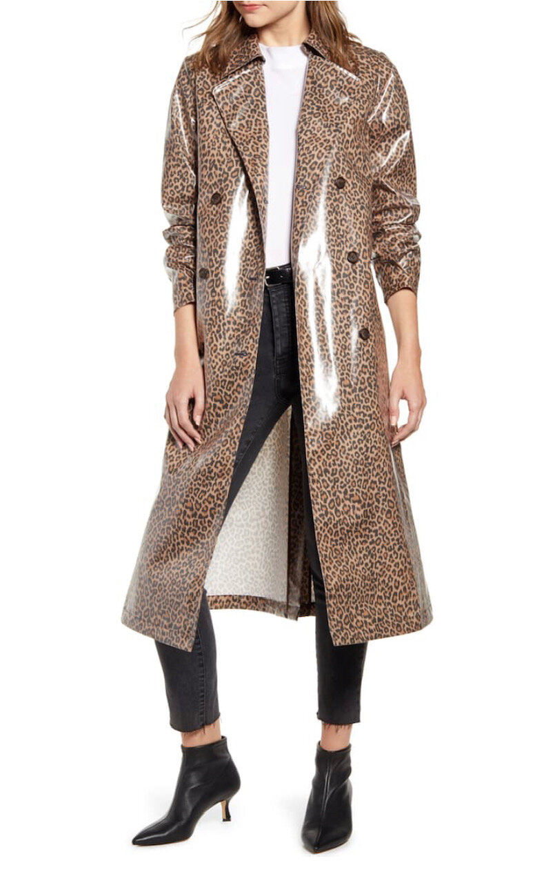 Leopard Print Water Resistant Coated Trench Coat, Something Navy, $159