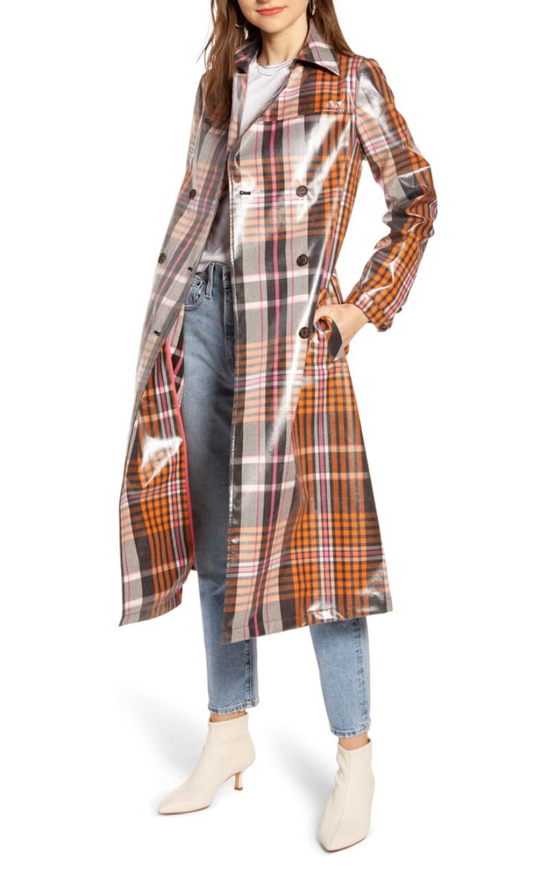 Water Resistant Plaid Glossy Trench Coat, Something Navy, $159