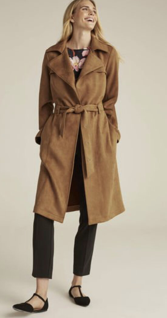 Suedette Trench Coat, Long Tall Sally, $229
