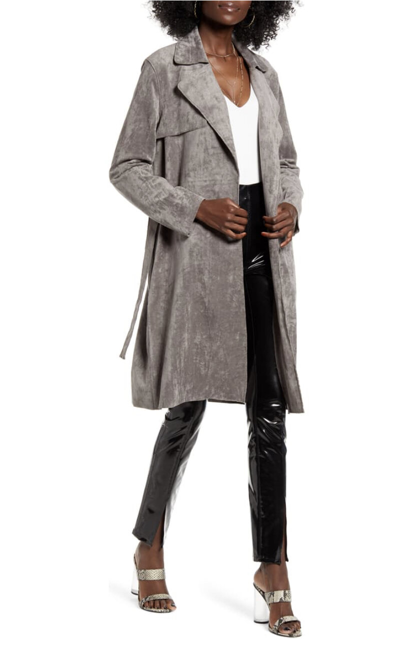 Faux Suede Trench Coat, BlankNYC, $128