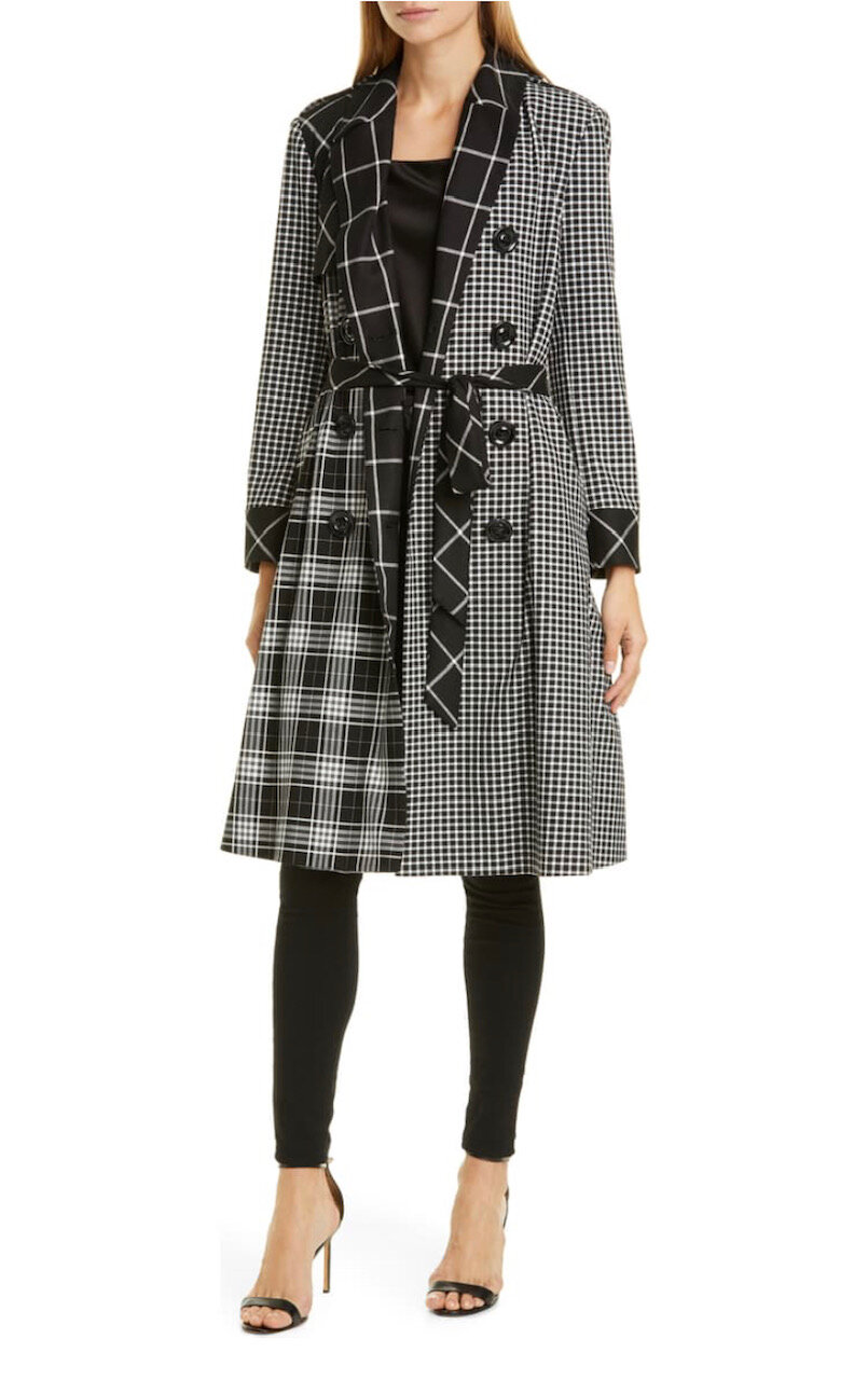 Timpson Patchwork Plaid Double Breasted Trench Coat, Alice+Olivia, $895