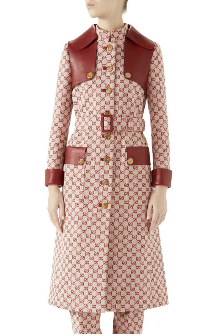 Leather Trim GG Canvas Trench Coat, Gucci, $6900