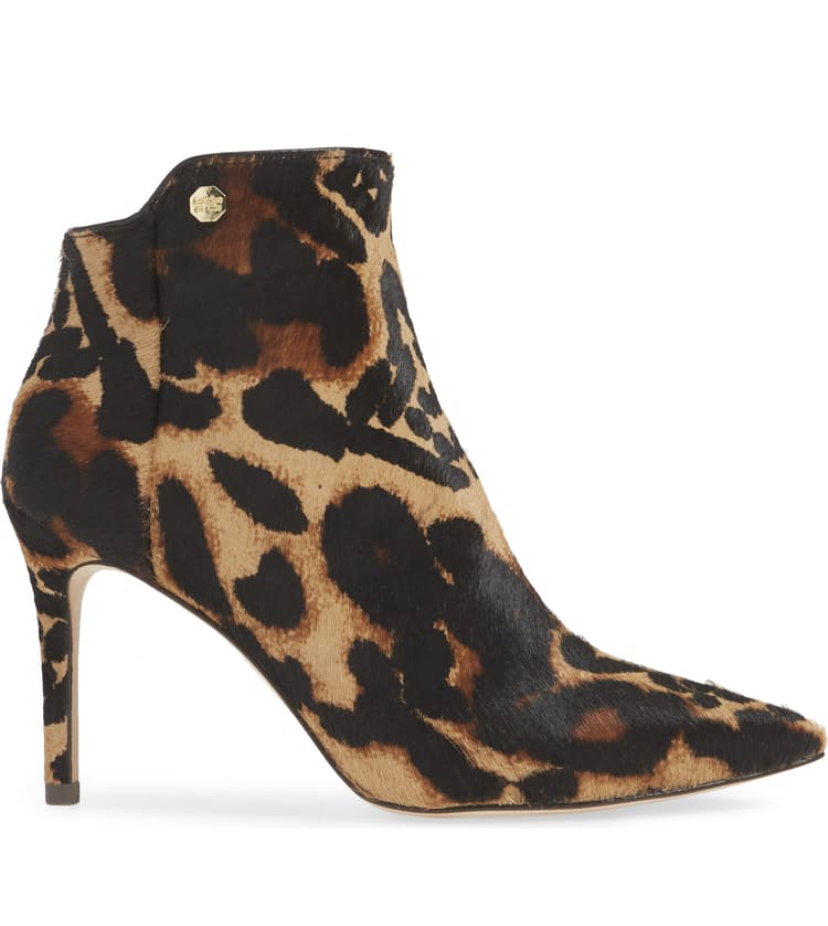 calf hair print leopard print booties with stiletto heel, fall fashion must have for women, animal print style