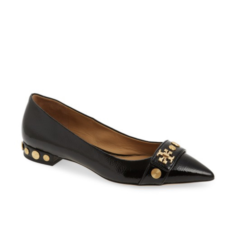 Womens loafers by Tory Burch. Studded heel, patten leather.