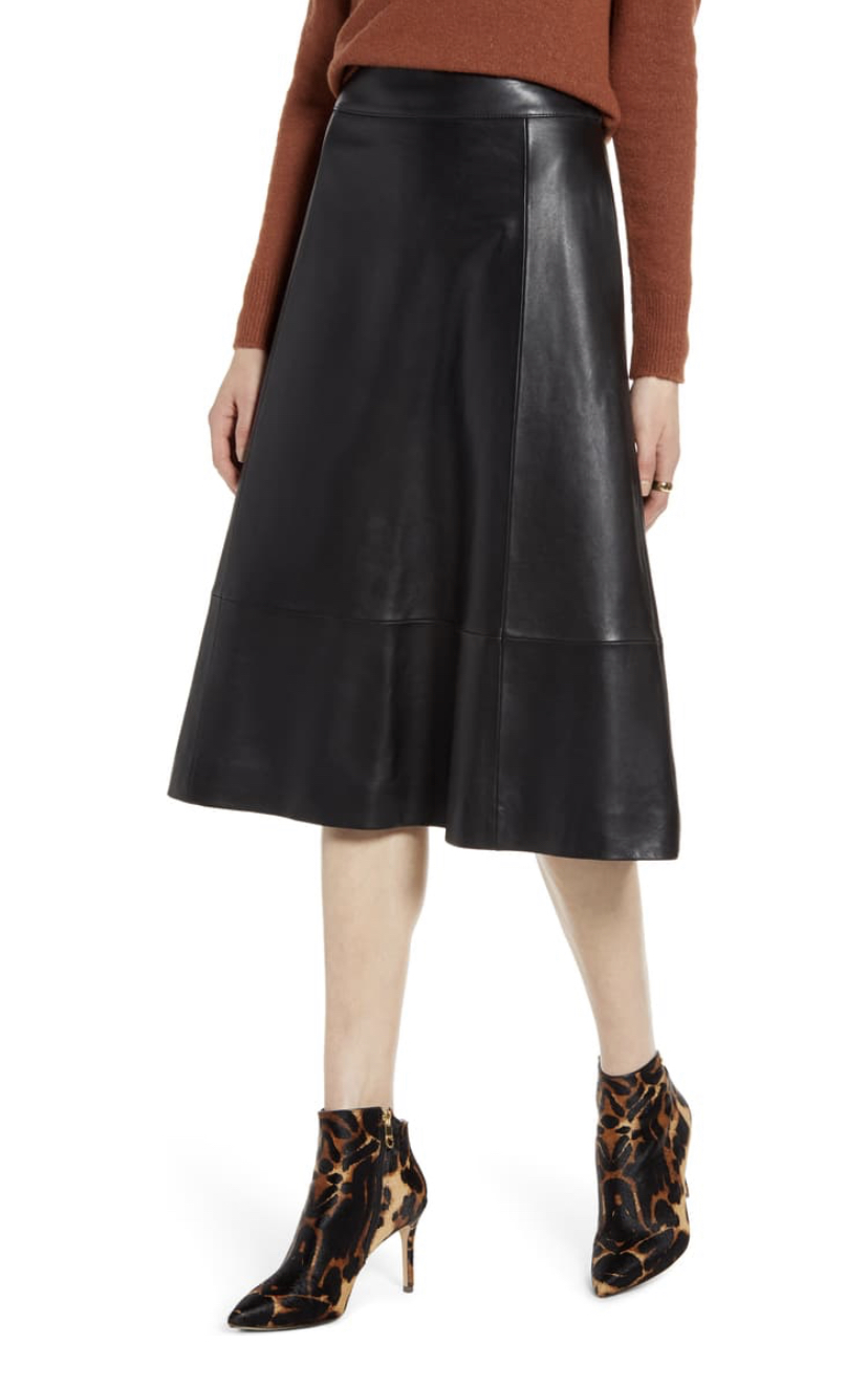 Leather knee length skirt.  Necessity for womens fall and winter style.