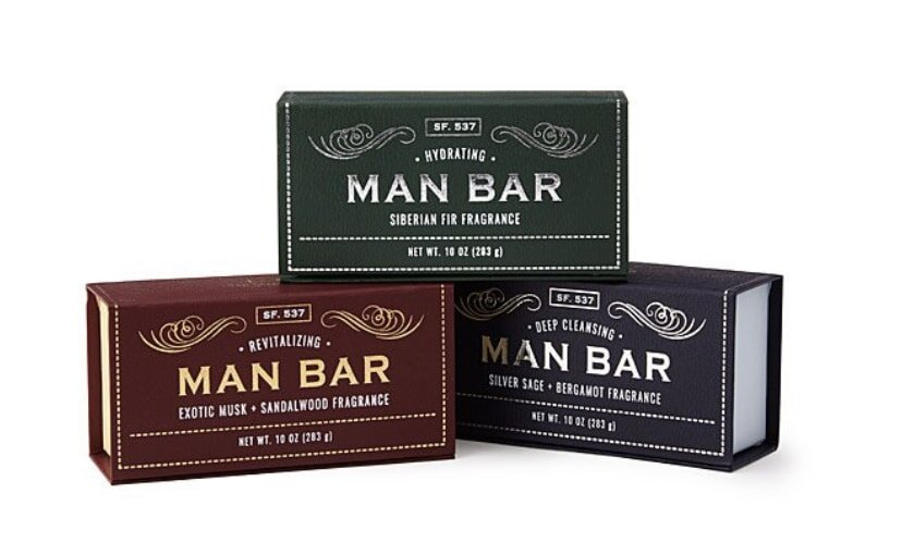 Sets of three bars of soap in masculine scents can make funny gifts for men you love.