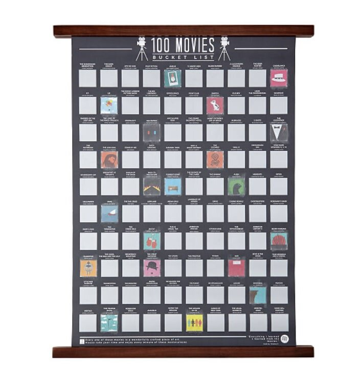 Poster of 100 iconic movies you can have fun going down the list, watching them together. A Christmas gift for you and your special man.